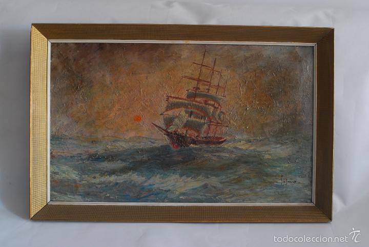 Arte: Cuadro de marina al óleo. Firmado Segura. - Foto 5 - 57975571