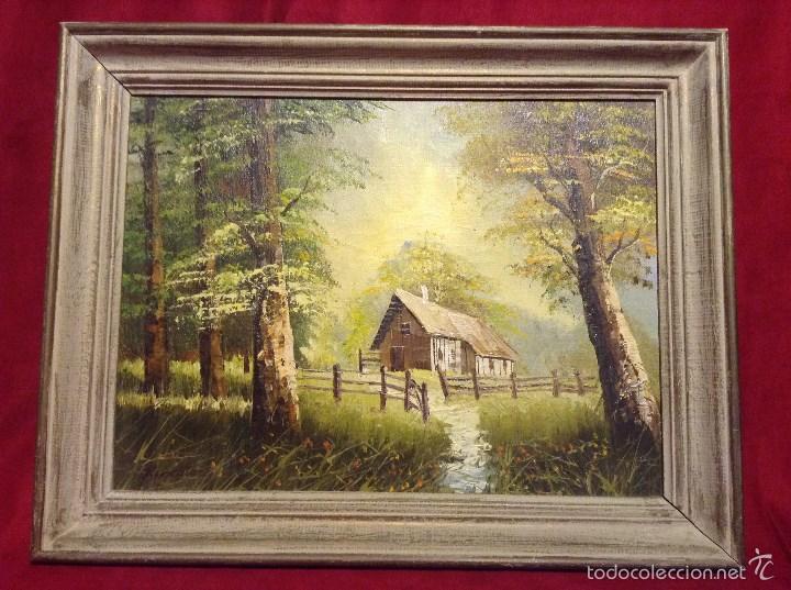 Cuadro casa de campo en bosque comprar pintura al leo - Cuadros de casas de campo ...