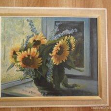 Arte: ÓLEO SOBRE TABLA - BODEGÓN GIRASOLES - ENMARCADO - FIRMADO Y FECHADO. Lote 58118818