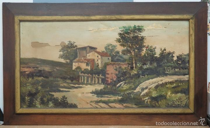 ANTIGUO E INTERESANTE OLEO S/ LIENZO PAISAJE. FIRMADO. FINALES SIGLO XIX (Arte - Pintura - Pintura al Óleo Moderna siglo XIX)