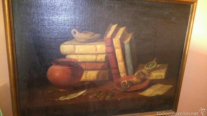 ANTIGUO BODEGON OLEO SOBRE LIENZO LIBROS, MONEDAS Y LUCERNAS (Arte - Pintura - Pintura al Óleo Antigua siglo XVIII)