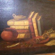 Arte: ANTIGUO BODEGON OLEO SOBRE LIENZO LIBROS, MONEDAS Y LUCERNAS. Lote 58189632