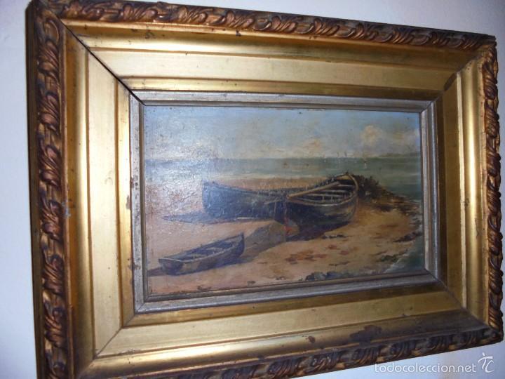 MARINA EN TABLA SXIX-XX. (Arte - Pintura - Pintura al Óleo Moderna siglo XIX)