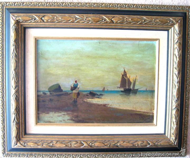 ANTIGUO ÓLEO/CARTÓN. ESCUELA VALENCIANA CIRCA 1900. FIRMADO J. GIL (Arte - Pintura - Pintura al Óleo Moderna sin fecha definida)