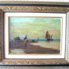 Arte: ANTIGUO ÓLEO/CARTÓN. ESCUELA VALENCIANA CIRCA 1900. FIRMADO J. GIL. Lote 58228223