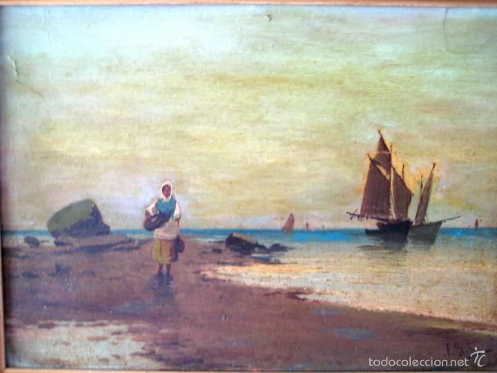 Arte: ANTIGUO ÓLEO/CARTÓN. ESCUELA VALENCIANA CIRCA 1900. FIRMADO J. GIL - Foto 2 - 58228223