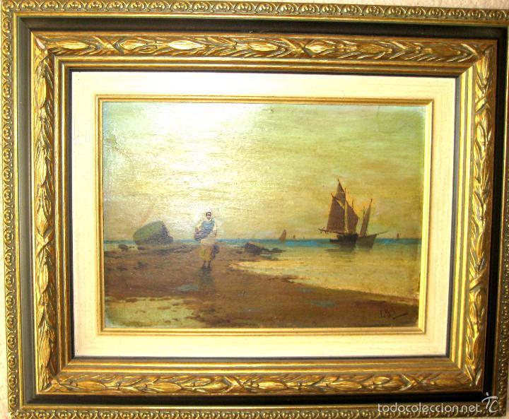 Arte: ANTIGUO ÓLEO/CARTÓN. ESCUELA VALENCIANA CIRCA 1900. FIRMADO J. GIL - Foto 8 - 58228223