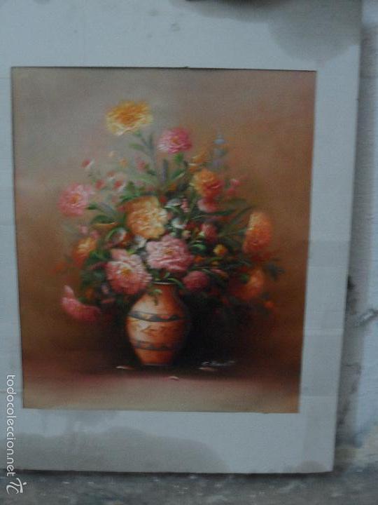Arte: bodegon de flores al oleo sobre tela firmado - Foto 2 - 58238282