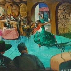 Arte: ALBERTO VELA, EXPECTACULAR PINTURA ORIGINAL (TABLAO FLAMENCO) GRAN TAMAÑO FIRMADA.. Lote 58334814