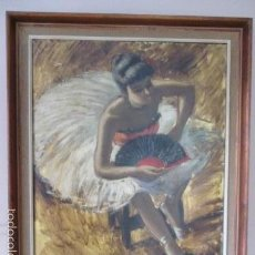 Arte: PRECIPOSO CUADRO DE BAILARINA DE BALET AL OLEO SOBRE LIENZO, 85 CM X 71,5 CM. Lote 58348583