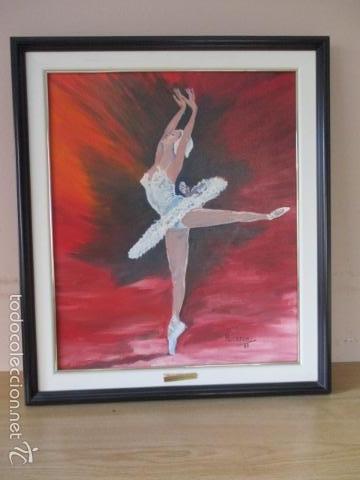 Arte: Cuadro de Bailarina de Balet pintado al oleo encima de una tabla de madera de Ramon Recarens - Foto 2 - 58348704