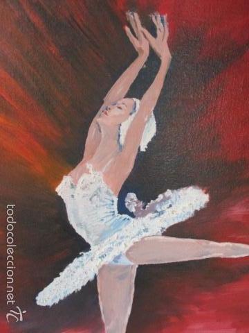 Arte: Cuadro de Bailarina de Balet pintado al oleo encima de una tabla de madera de Ramon Recarens - Foto 3 - 58348704