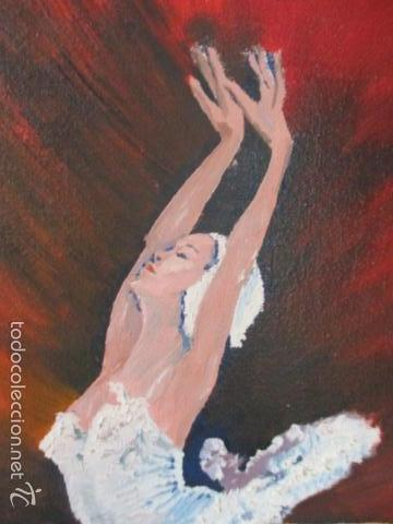 Arte: Cuadro de Bailarina de Balet pintado al oleo encima de una tabla de madera de Ramon Recarens - Foto 4 - 58348704