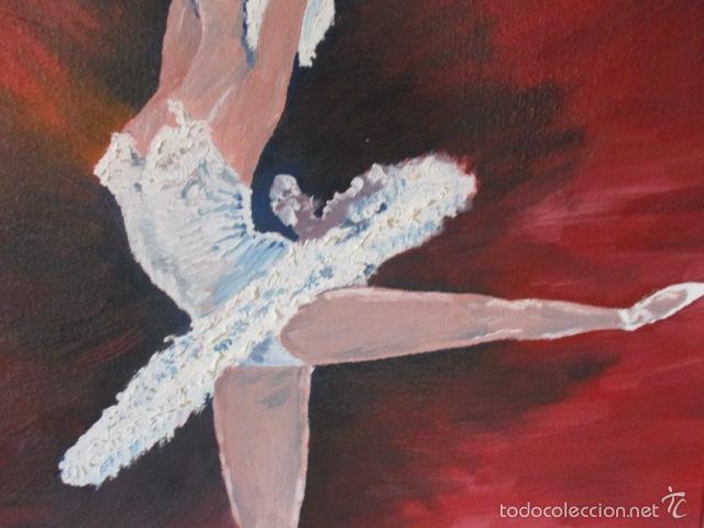 Arte: Cuadro de Bailarina de Balet pintado al oleo encima de una tabla de madera de Ramon Recarens - Foto 5 - 58348704