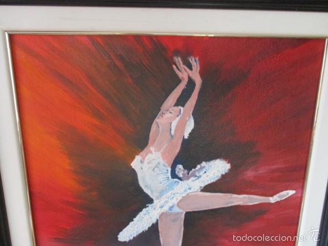 Arte: Cuadro de Bailarina de Balet pintado al oleo encima de una tabla de madera de Ramon Recarens - Foto 11 - 58348704
