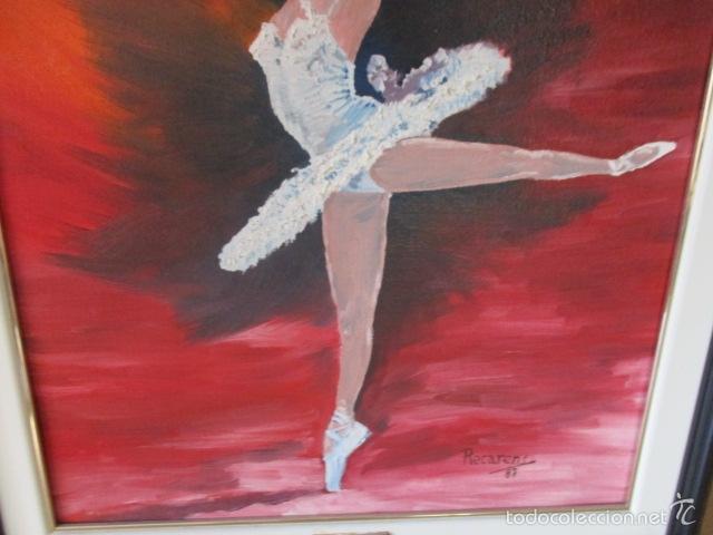 Arte: Cuadro de Bailarina de Balet pintado al oleo encima de una tabla de madera de Ramon Recarens - Foto 12 - 58348704