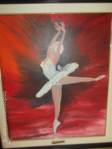 Arte: Cuadro de Bailarina de Balet pintado al oleo encima de una tabla de madera de Ramon Recarens - Foto 13 - 58348704