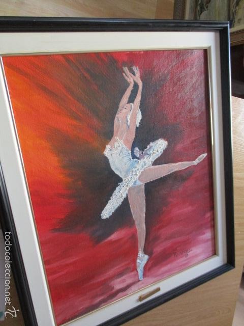 Arte: Cuadro de Bailarina de Balet pintado al oleo encima de una tabla de madera de Ramon Recarens - Foto 14 - 58348704