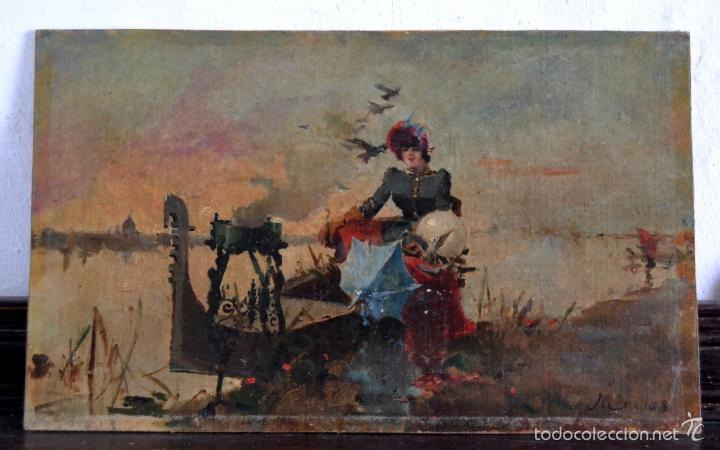 OLEO SOBRE LIENZO EN TABLERO FIRMADO MIRALLES F.F DEL SIGLO XIX - P.P DEL XX (Arte - Pintura - Pintura al Óleo Moderna siglo XIX)