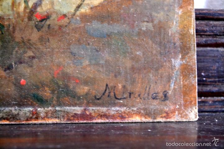 Arte: OLEO SOBRE LIENZO EN TABLERO FIRMADO MIRALLES F.F DEL SIGLO XIX - P.P DEL XX - Foto 4 - 58373912