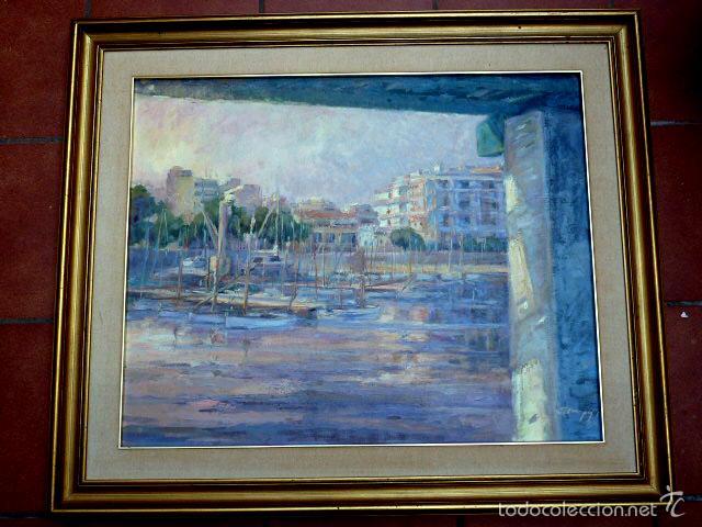 GRAN ÓLEO SOBRE TELA.SALUD COMPANY.PUERTO DE PALMA DE MALLORCA.MUY BUEN TRAZO.1980 (Arte - Pintura - Pintura al Óleo Contemporánea )
