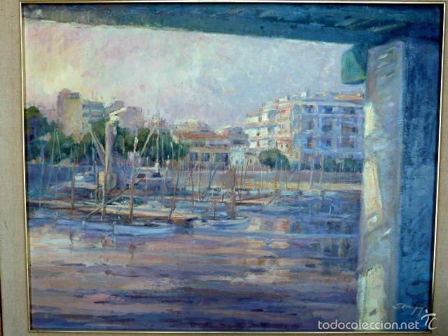 Arte: gran óleo sobre tela.salud company.Puerto de palma de Mallorca.Muy buen trazo.1980 - Foto 2 - 58385635
