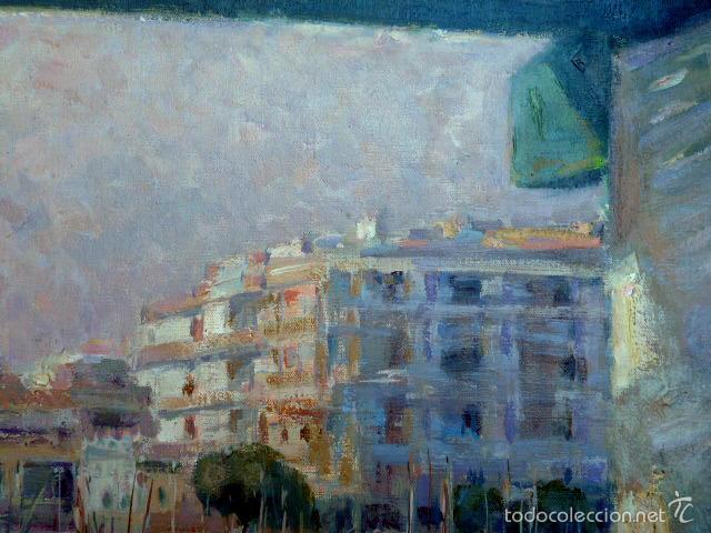Arte: gran óleo sobre tela.salud company.Puerto de palma de Mallorca.Muy buen trazo.1980 - Foto 3 - 58385635