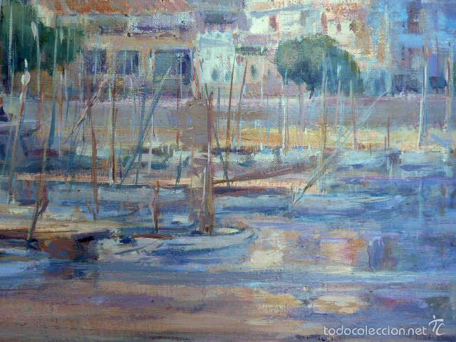 Arte: gran óleo sobre tela.salud company.Puerto de palma de Mallorca.Muy buen trazo.1980 - Foto 5 - 58385635