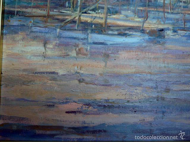 Arte: gran óleo sobre tela.salud company.Puerto de palma de Mallorca.Muy buen trazo.1980 - Foto 6 - 58385635