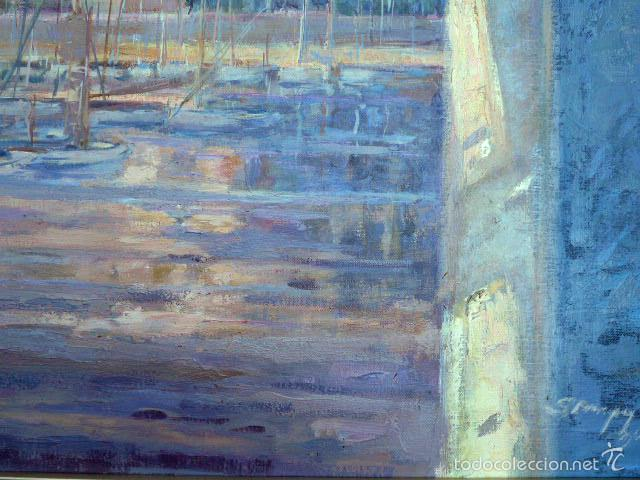 Arte: gran óleo sobre tela.salud company.Puerto de palma de Mallorca.Muy buen trazo.1980 - Foto 7 - 58385635
