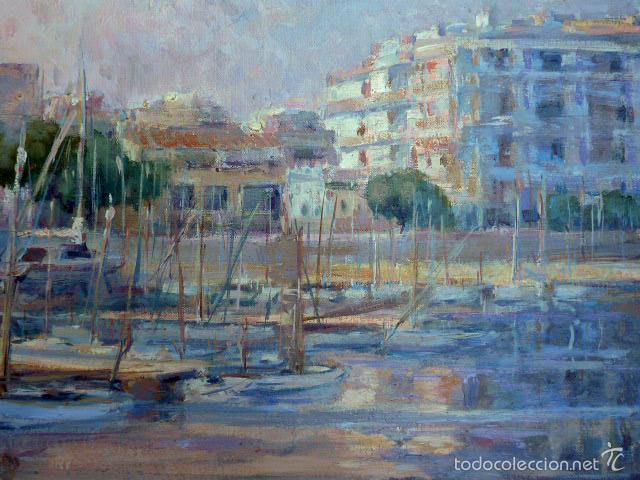 Arte: gran óleo sobre tela.salud company.Puerto de palma de Mallorca.Muy buen trazo.1980 - Foto 9 - 58385635