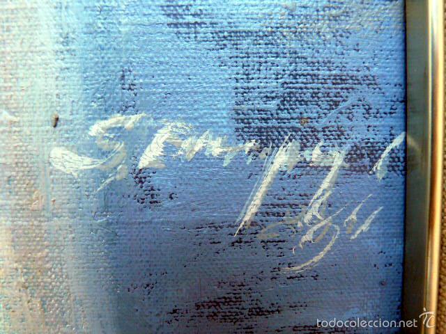 Arte: gran óleo sobre tela.salud company.Puerto de palma de Mallorca.Muy buen trazo.1980 - Foto 10 - 58385635