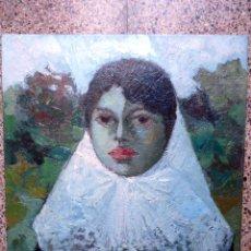 Arte: ÓLEO SOBRE TABLA.BERNAT SANJUAN I TARRÉ.ANTONIA.DEIÀ.MUJER DE MALLORCA. Lote 58400852