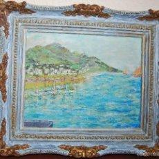 Arte: ÓLEO SOBRE CARTÓN - MARINA - PAISAJE COSTERO - MUELLE Y VELEROS. Lote 58455304
