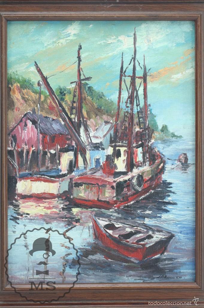 Arte: Pintura al Óleo Sobre Tabla Enmarcada - Antonio Blanco. Puerto con Barcos - Años 70 - 38 x 29 cm - Foto 2 - 58497843