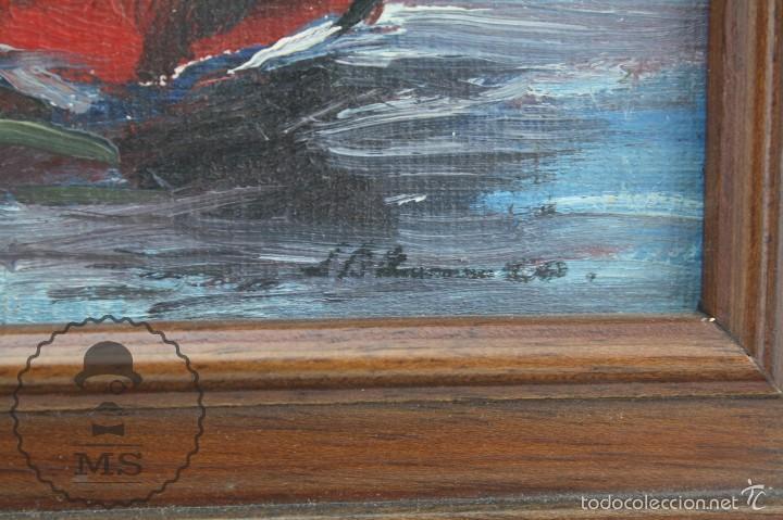 Arte: Pintura al Óleo Sobre Tabla Enmarcada - Antonio Blanco. Puerto con Barcos - Años 70 - 38 x 29 cm - Foto 3 - 58497843