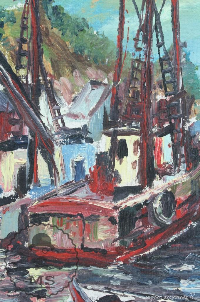 Arte: Pintura al Óleo Sobre Tabla Enmarcada - Antonio Blanco. Puerto con Barcos - Años 70 - 38 x 29 cm - Foto 4 - 58497843