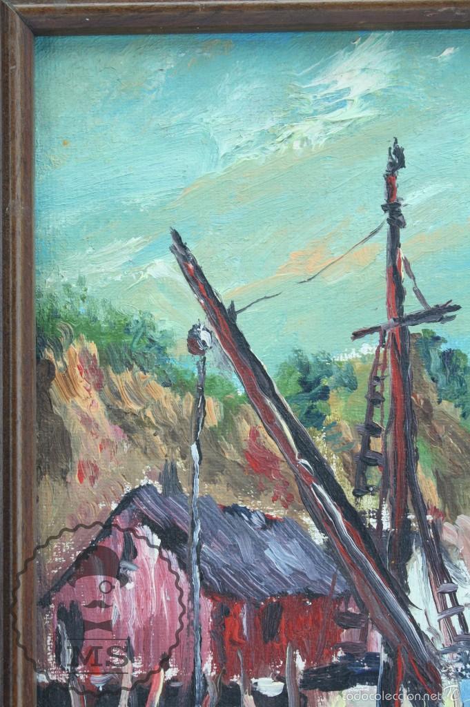 Arte: Pintura al Óleo Sobre Tabla Enmarcada - Antonio Blanco. Puerto con Barcos - Años 70 - 38 x 29 cm - Foto 5 - 58497843