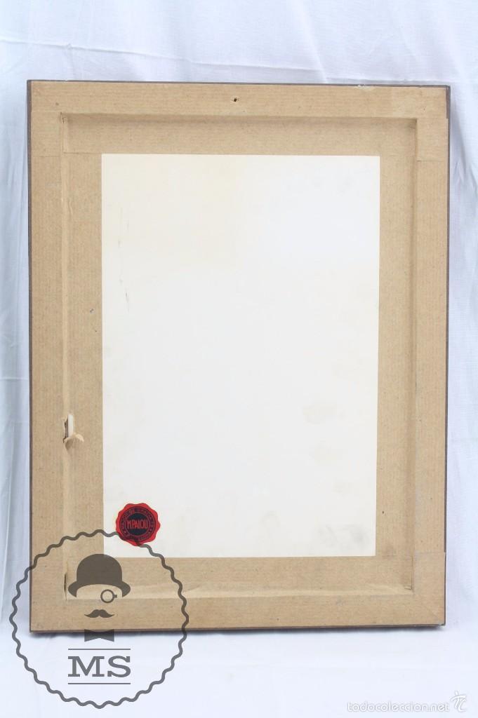 Arte: Pintura al Óleo Sobre Tabla Enmarcada - Antonio Blanco. Puerto con Barcos - Años 70 - 38 x 29 cm - Foto 6 - 58497843