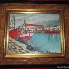 Arte: CUADRO CON MARCO-FIRMADO-SOBRE TABLA-MARINA-FIRMADO-VER FOTOS.. Lote 58499693