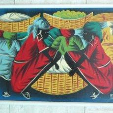 Arte: OLEO SOBRE TABLEX. ESCENA DE MERCADO CARIBEÑO. FIRMADO. 39 X 60 CM MEDIDAS CON MARCO.. Lote 58624957