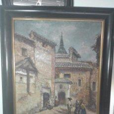Arte: INTERESANTE OLEO PLAZA DE SAN JUAN DE LA PENITENCIA E IGLESIA DE SAN JUSTO - TOLEDO - 1938 -. Lote 58639521