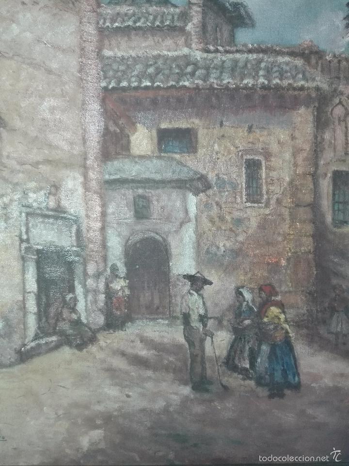 Arte: INTERESANTE OLEO PLAZA DE SAN JUAN DE LA PENITENCIA E IGLESIA DE SAN JUSTO - TOLEDO - 1938 - - Foto 2 - 58639521