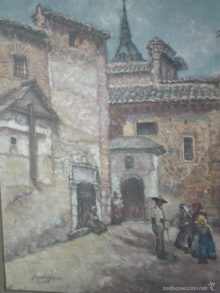 Arte: INTERESANTE OLEO PLAZA DE SAN JUAN DE LA PENITENCIA E IGLESIA DE SAN JUSTO - TOLEDO - 1938 - - Foto 3 - 58639521