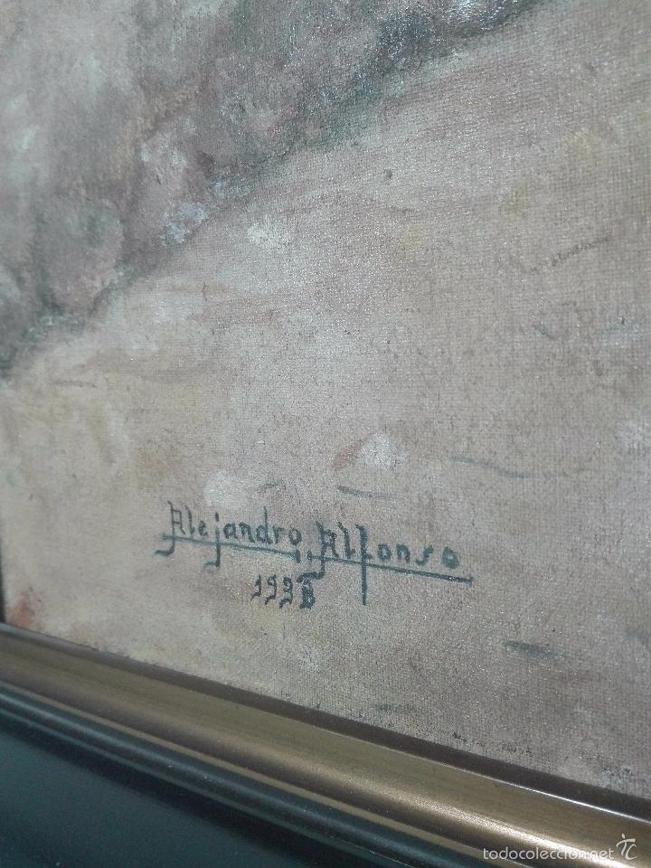 Arte: INTERESANTE OLEO PLAZA DE SAN JUAN DE LA PENITENCIA E IGLESIA DE SAN JUSTO - TOLEDO - 1938 - - Foto 4 - 58639521