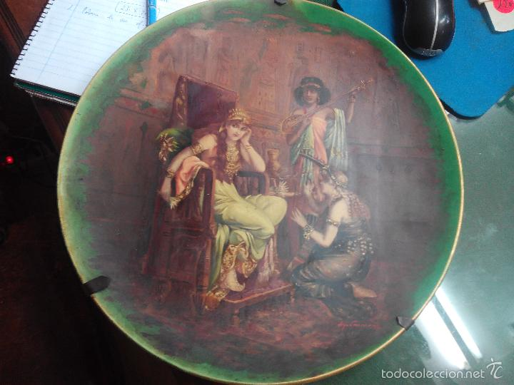 PLATO PINTADO AL OLEO ESCENA EGIPCIA FIRMADO COOMANS (Arte - Pintura - Pintura al Óleo Moderna siglo XIX)