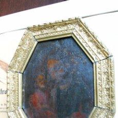Arte: PINTURA AL OLEO SOBRE CHAPA O HIERRO - SAN JOSE CON EL NIÑO JESUS - SIGLO XVI - XVII -PRECIOSO MARCO. Lote 58691563