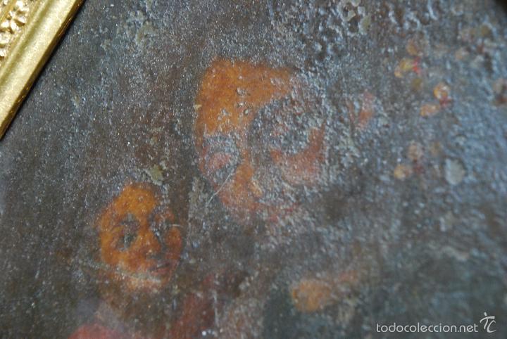 Arte: PINTURA AL OLEO SOBRE CHAPA O HIERRO - SAN JOSE CON EL NIÑO JESUS - SIGLO XVI - XVII -PRECIOSO MARCO - Foto 3 - 58691563