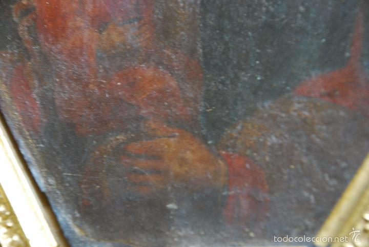 Arte: PINTURA AL OLEO SOBRE CHAPA O HIERRO - SAN JOSE CON EL NIÑO JESUS - SIGLO XVI - XVII -PRECIOSO MARCO - Foto 4 - 58691563
