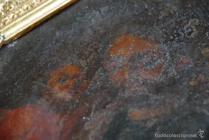 Arte: PINTURA AL OLEO SOBRE CHAPA O HIERRO - SAN JOSE CON EL NIÑO JESUS - SIGLO XVI - XVII -PRECIOSO MARCO - Foto 6 - 58691563